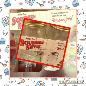 NEW SOUTHERN SIPPER STEMWARE GLASSES 4 Pack Set